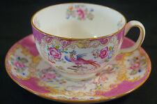 Minton Cockatrice Porcelain Pink Hand Painted Tea Cup & Saucer Circa 1891 - 1920