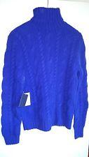 Polo Ralph Lauren Thick Blue Cashmere Turtleneck Cable Knit Sweater L