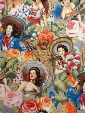 AH109 Las Senoritas Sexy Pin Up Calendar Girl Mexico Latin Cotton Quilt Fabric