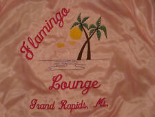 Vtg Satins Flamingo Lounge Grand Rapids MI Pink Jacket Coat M Plam Tree Sun