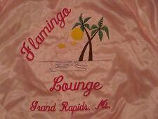 Vtg Satins Flamingo Lounge Grand Rapids MI Pink Jacket Coat M Plam Tree Sun