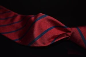 Brooks Brothers English Silk Ruby Red Twill Navy Blue Single Repp Stripe Tie NR