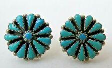 Wonderful Vintage Turquoise Gem Petit Point Sterling Silver Earrings Posts Studs
