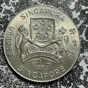 1973 Singapore $10 Lot#PJ55 Large Silver Coin! High Grade! Beautiful!