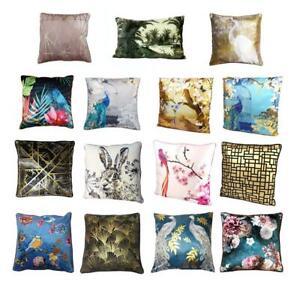 Velvet Satin Cushion Pillow Soft Case Cover Bird Floral Oriental Gold Black Blue