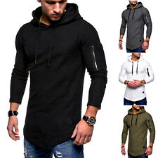 Men Long Sleeve Hoodie Hooded Casual Zip T-shirt Skinny Tee Muscle Tops Blouse