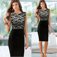New Women Ladies Sexy Slim Lace Sleeveless Bodycon Cocktail Party Pencil Dress