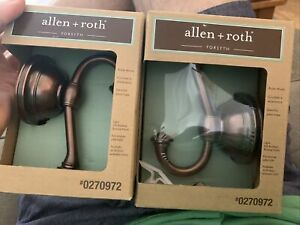 Allen Roth Forsyth Two Robe Hooks 27092 Oil Rubbed Bronze Finish New