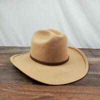 Broner Tan Western Cowboy Hat 100% Wool Flex Brim Size M Made In USA WPL 4384
