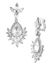 Lange Ohrclips Clips Clip Ohrringe Kristall Klar Transparent Silber 6 cm Lang