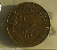 5 centimes marianne 1968 : B : pièce de monnaie française