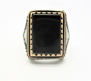 925 Sterling Silver Men's Ring Black Onyx Stone with Bronze Frame