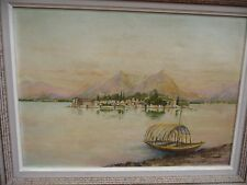 Ancien tableau paysage marine  peinture huile originale . Signé