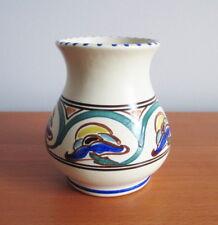 "Honiton Pottery Vase Art Deco Jacobean Scroll 1930s Devon England 3.5"" Collard"