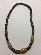 Vintage Handmade African Tribal Ethnic Large Black & White Stone Beads Necklace