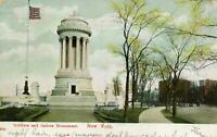 1908 SOLDIERS & SAILORS MONUMENT*NEW YORK*AMERICAN FLAG*ANTIQUE POSTCARD