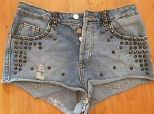 TopShop moto jean shorts with spikes - W28