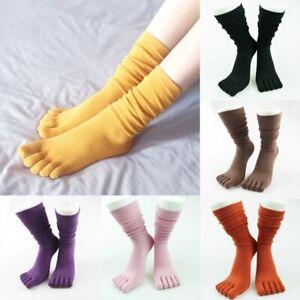 Solid Color Five-finger Women Socks Soft Winter Fall High Floor Girls Toe Socks