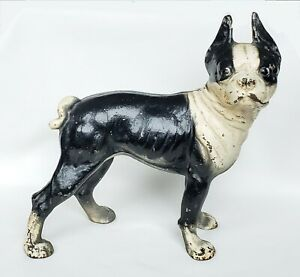 "Vintage Hubley? Boston Terrier Dog Cast Iron Right-Facing Door Stopper 10"" Tall"