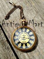 Nautical Victoria London Pocket Watch Maritime Chain Pandent Clock Item Gift