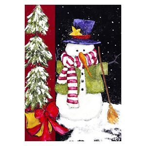 "Toland Home Garden, Sweeping Snowman  Decorative Flag 28"" x 40"" Christmas New"