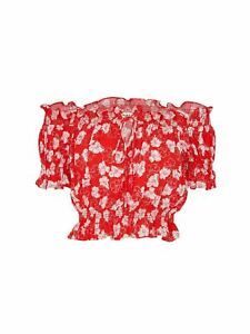 WHISTLES Floral Garland Bardot Crop Top Short Sleeve Red Multi UK4 BNWT RRP119