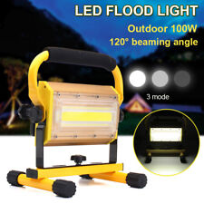 100W Portable Cordless Work Light Rechargeable COB LED Flood Spot Camping Lamp