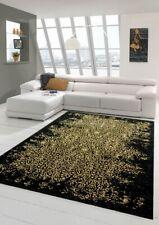 Rug modern designer carpet in black gold
