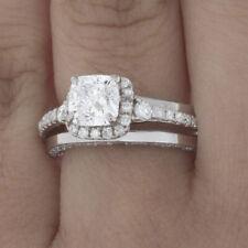 GIA Certified Diamond Engagement Ring Cushion Cut 18k White Gold 3.24 carat