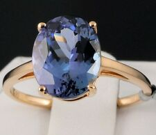 4.00cts. Genuine Bi-Color Tanzanite Solitaire 14k Solid Yellow Gold Ring, Size 7
