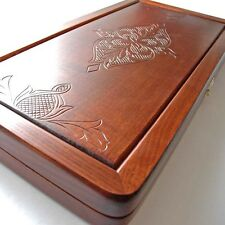 Perfect Backgammon Set Carved Wood ash NIB Deluxe Backgammon NEW 20.07 in.