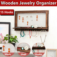 Rustic Wooden Jewelry Organizer Wall Mounted Holder Rack For Earrings Necklaces
