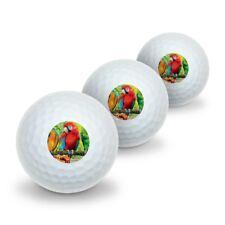 Colorful Tropical Rainforest Parrots Novelty Golf Balls 3 Pack