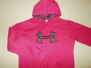 UNDER ARMOUR DARK PINK HOODED SWEATSHIRT WOMENS LARGE EXCELLENT CONDITION