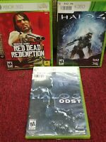 LOT OF 3 XBOX 360, Red Dead Redemption, HALO 3 ODST, HALO 4. * A++