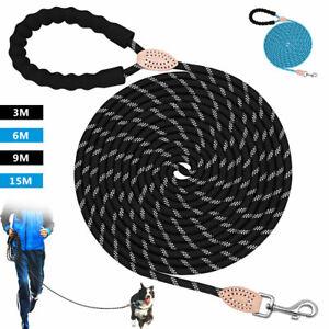 10/20/30/50ft Training Dog Lead Tracking Long Nylon Braided Rope Padded Handle
