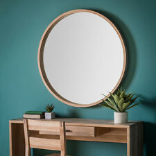Bowman Large Country Classic Style Round Wooden Frame Wall Mirror - 100cm Diam.
