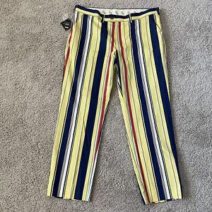 NWT Loudmouth Golf Pants Size 42x32 Mens Stripes Yellow Blue