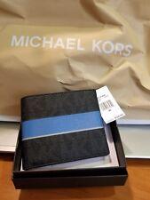 Michael Kors Men's Jet Set Logo Billfold Wallet Black With Blatic Blue Strip