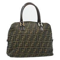 FENDI Zucca Canvas Hand Bag Black Brown Auth rd489