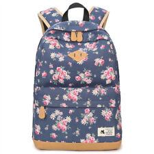 Vintage Canvas Backpack School Bags For Teenagers Girls Floral Travel Bagpack