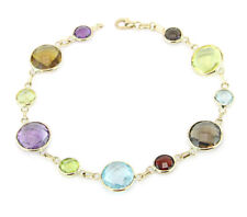 14K Yellow Gold Bracelet With Round Shaped Multi-Colored Gemstones 7.5 Inches