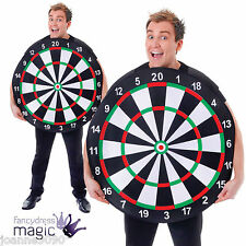 Adult Mens Ladies Darts Dart Board Target Bullseye Fancy Dress Costume Outfit BN