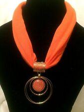 Women Statement Chunky Long Big Large Gold Orange Fabric Beaded Pendant Necklace
