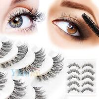 5Pair Handmade Natural Thick Long Cross False Fake Eyelashes Eye Lashes Makeup Y