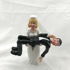 Vintage Funny Bride Holding Groom Wedding Cake Topper Humorous 1987 Wilton