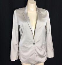 Ann Taylor 12 Large Blazer Gray Beige 3 Pocket 1 Button Long Suit Jacket Work