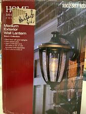 8in. 1-Light Wall Mount Outdoor Lantern Black Gold Highlights, Clear Seedy Glass