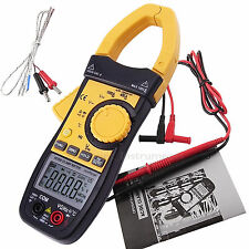 Digital AC/DC Clamp Meter Multimeter Thermometer Ohm Voltage Electronic Tester