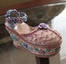 Enameled Vanity Shoe Slipper Trinket Box with Swarovski Rhinestones by Kalifano